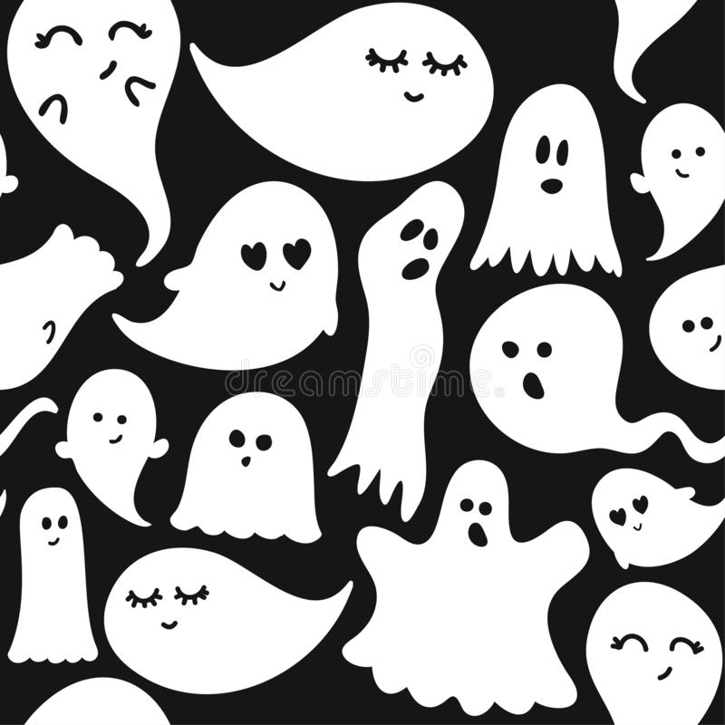 Cute ghosts Halloween seamless pattern, doodle design set stock illustration