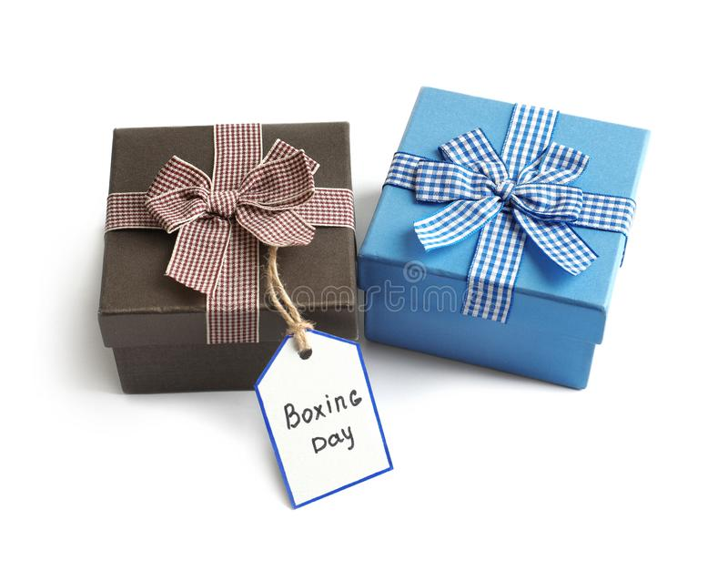 Cute gift boxes with label, royalty free stock photos