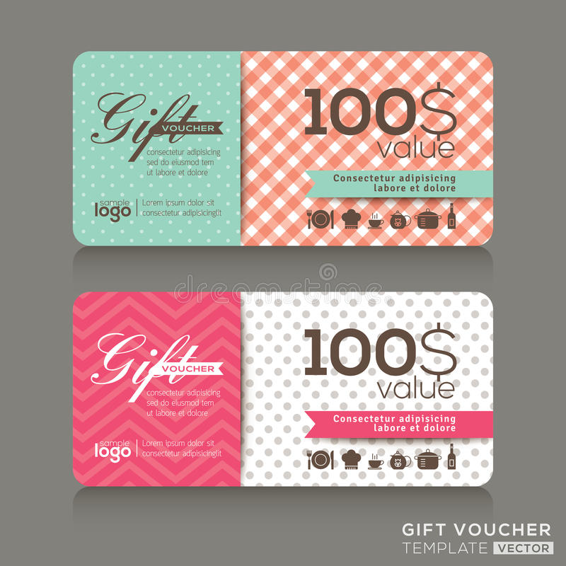 Cute gift voucher certificate coupon design template stock illustration