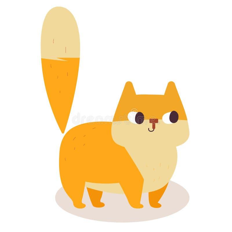 Cute ginger cartoon cat isolated on white background. Simple modern flat style illustration. stock illustration