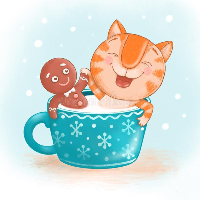 A cute ginger cat and a gingerbread man sit together in a large blue mug with milk royalty free stock photography
