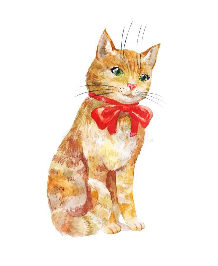 Cute ginger cat with red bow isolated on white background royalty free illustration