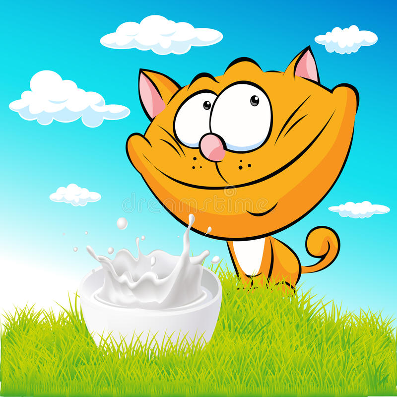 Cute ginger cat sitting on green grass with milk vector illustration