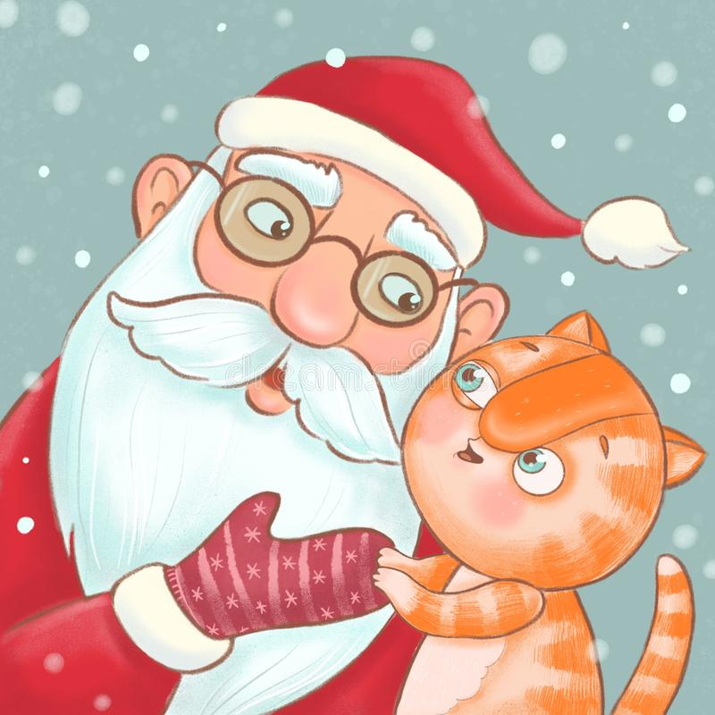Cute ginger kitten whispers his wishes in the ear of Santa Claus stock image