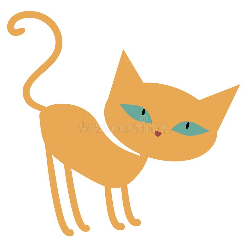 Cute ginger orange cartoon cat with green eyes stock illustration