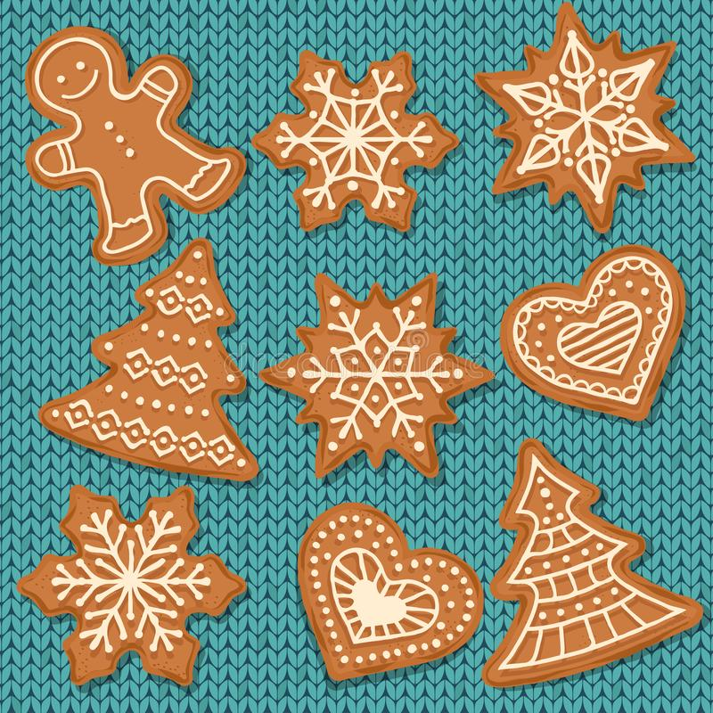 Cute gingerbread elements on knitted background. Christmas gingerbread background. Vector stock illustration