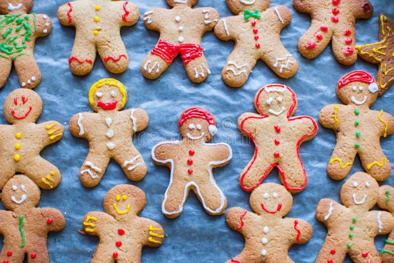 Cute Gingerbread Men On Baking Sheet For Christmas Stock ...
