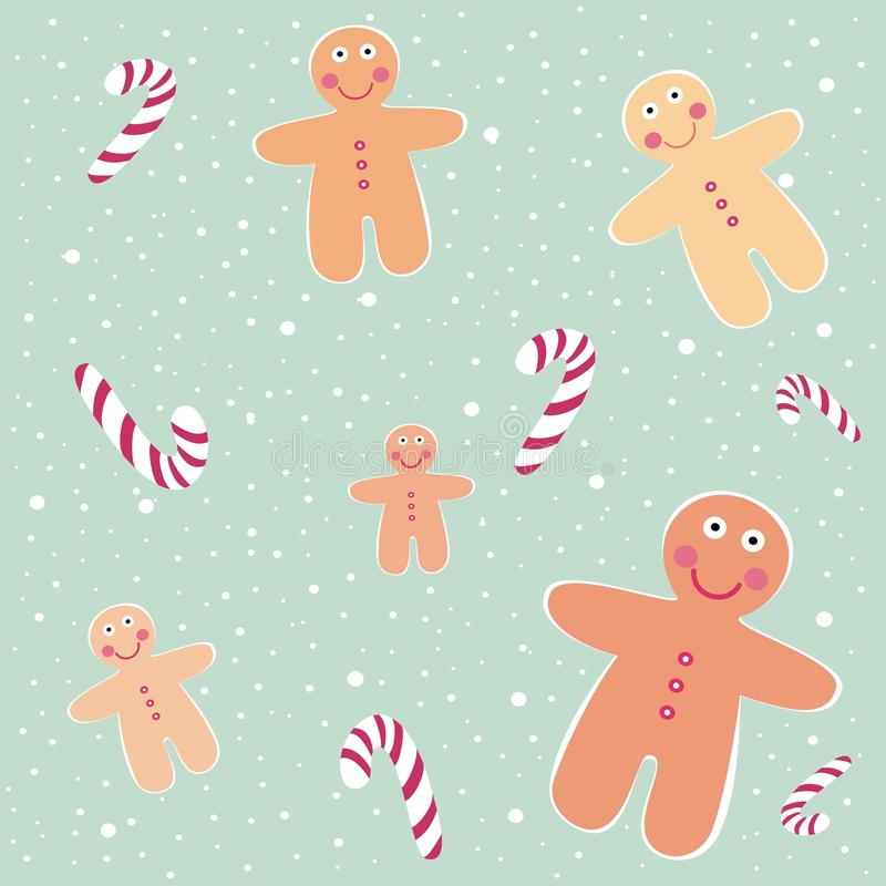Cute gingerbread men with christmas sweets in stock photos