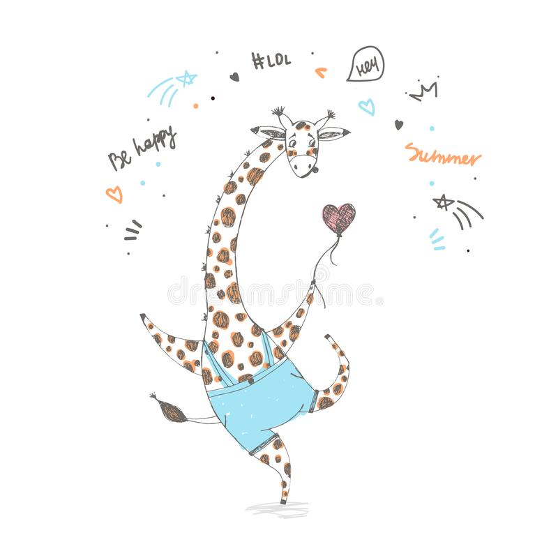Cute giraffe boy with balloon. African animal vector illustration of cartoon style sketch vector illustration