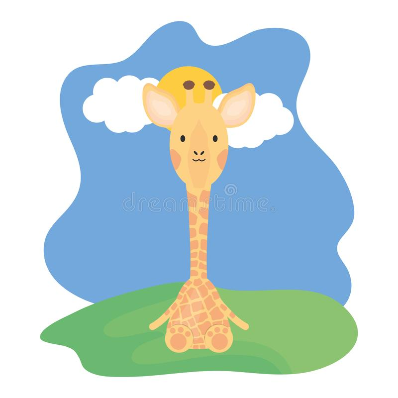 Cute giraffe in the camp childish character. Vector illustration design vector illustration