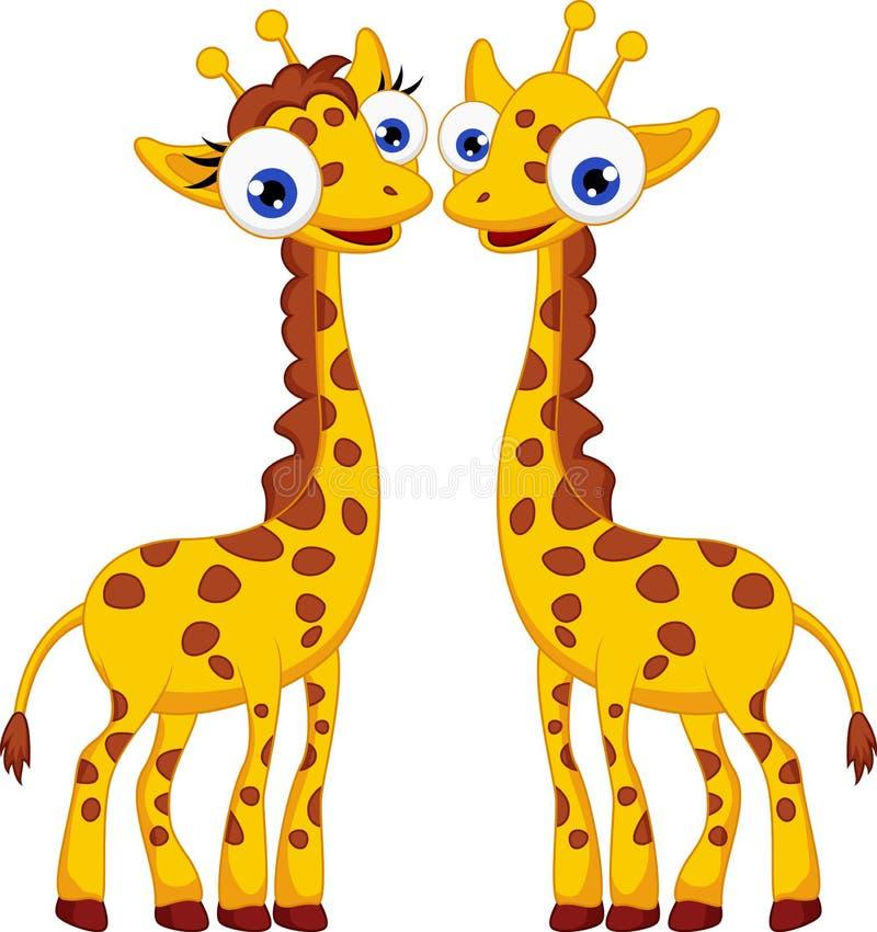 Cute giraffe cartoon couple vector illustration