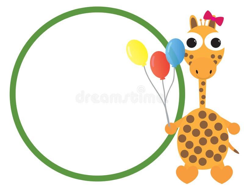 Cute giraffe cartoon holding colorful balloons vector illustration