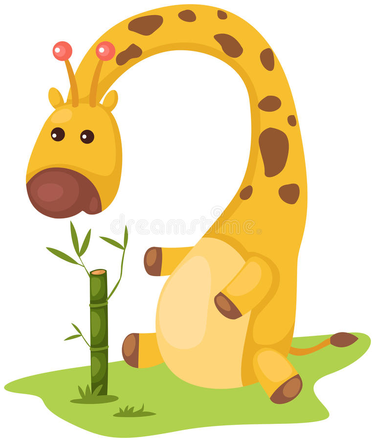 Cute giraffe eating bamboo stock illustration