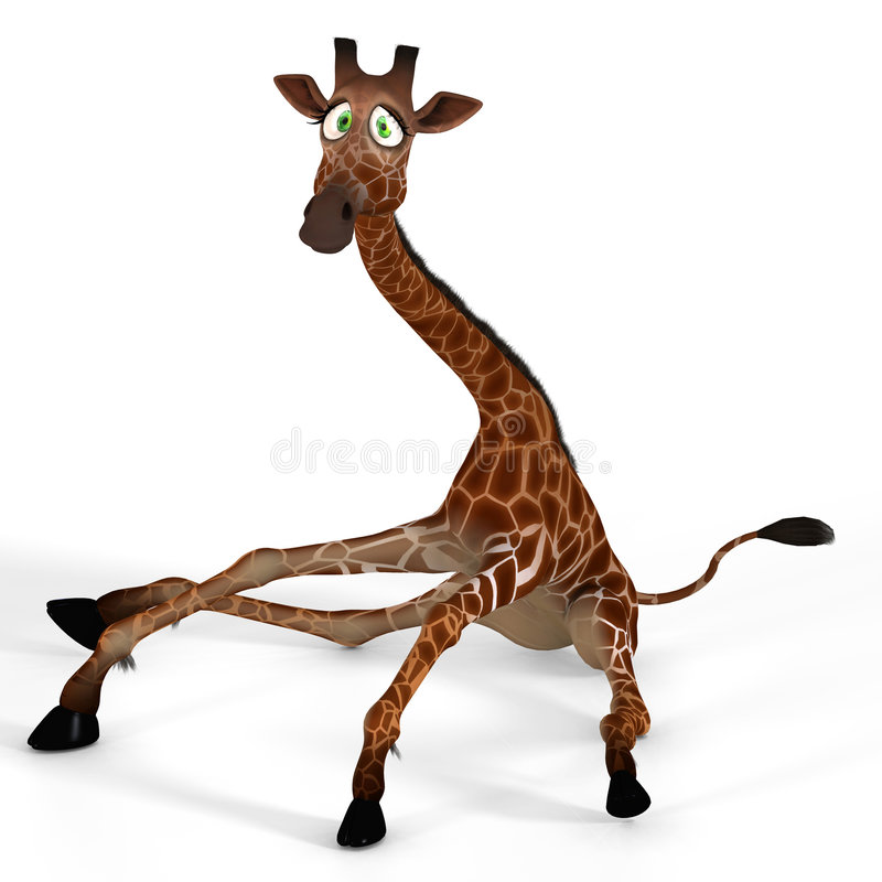 Cute giraffe with a funny face stock illustration