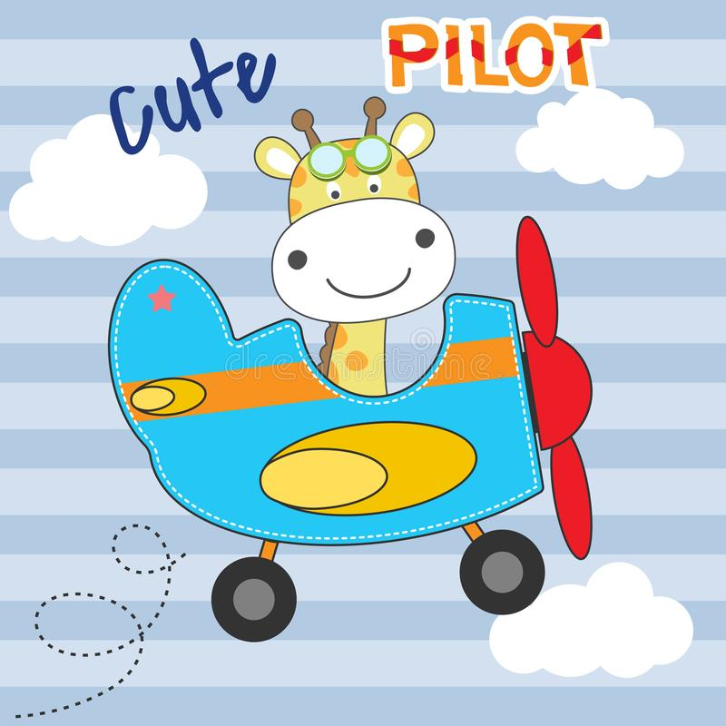 Cute giraffe pilot cartoon flying on airplane. royalty free stock photography