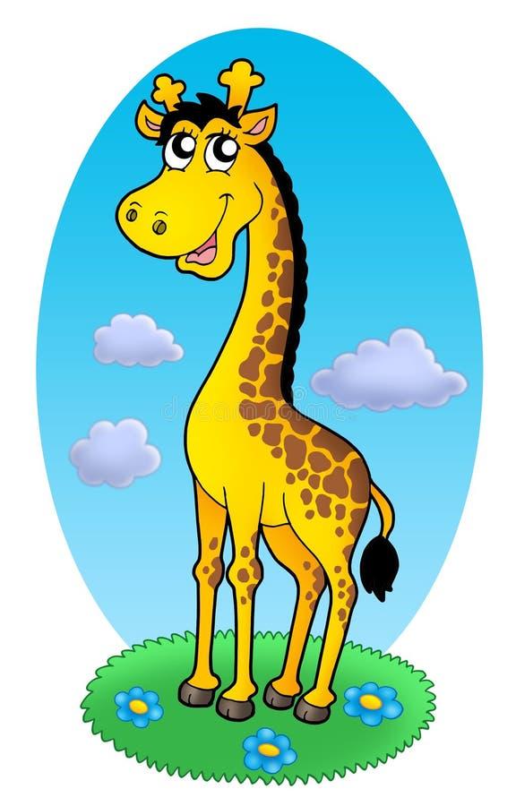 Cute giraffe standing on grass vector illustration