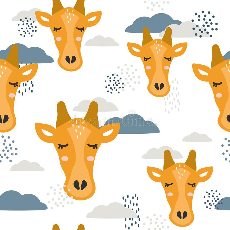 Cute giraffes and clouds, colorful seamless pattern royalty free illustration
