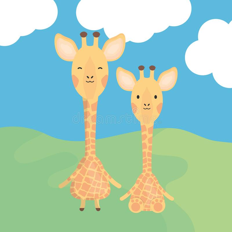 Cute giraffes couple childish characters royalty free illustration