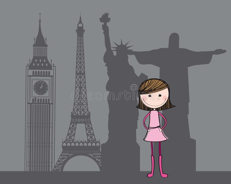 Cute girl. With silhouette global sculptures. illustration vector illustration