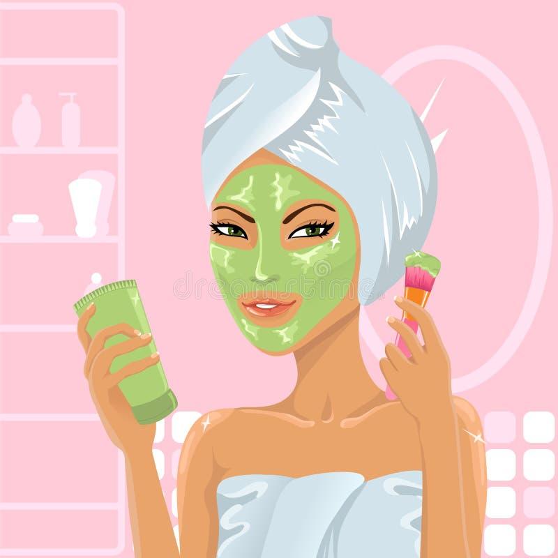 Cute girl applying facial mask vector illustration