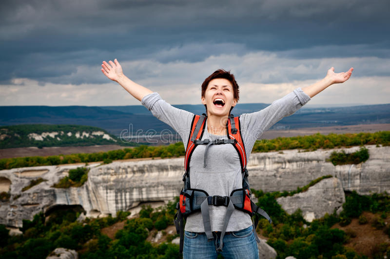 Download Cute girl with a backpack stock photo. Image of adventure - 21460440