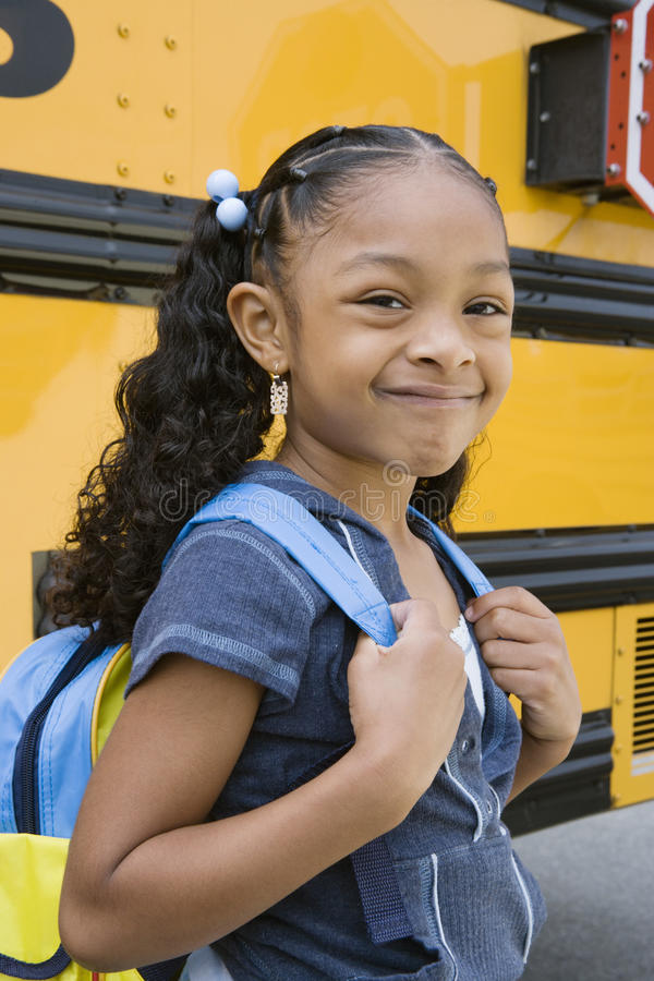 Cute Girl With Backpack stock photo