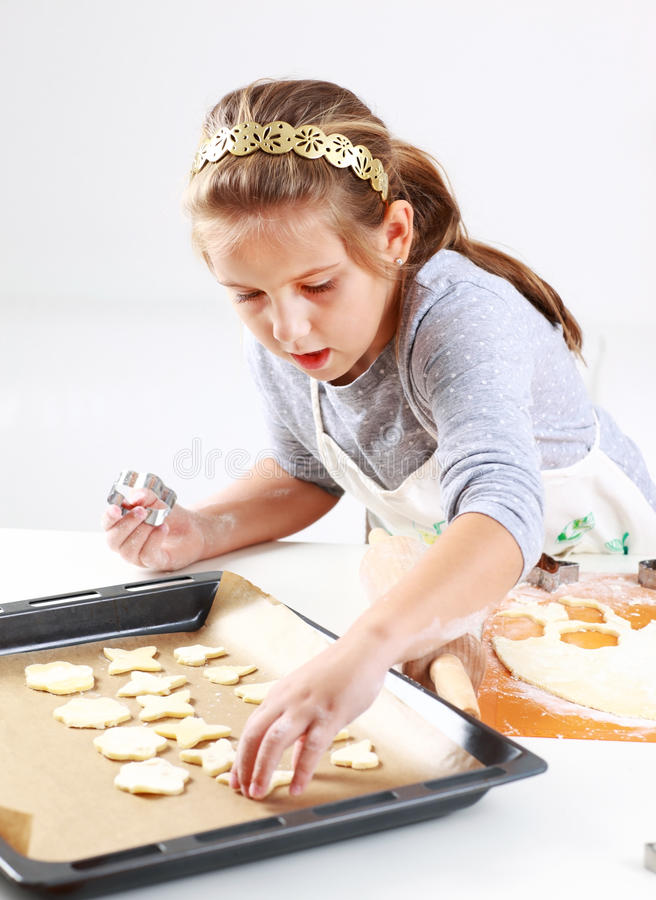 Download Cute girl baking cookies stock photo. Image of childhood - 21904188
