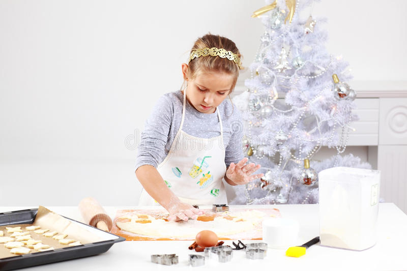 Download Cute girl baking cookies stock image. Image of cookie - 21904217