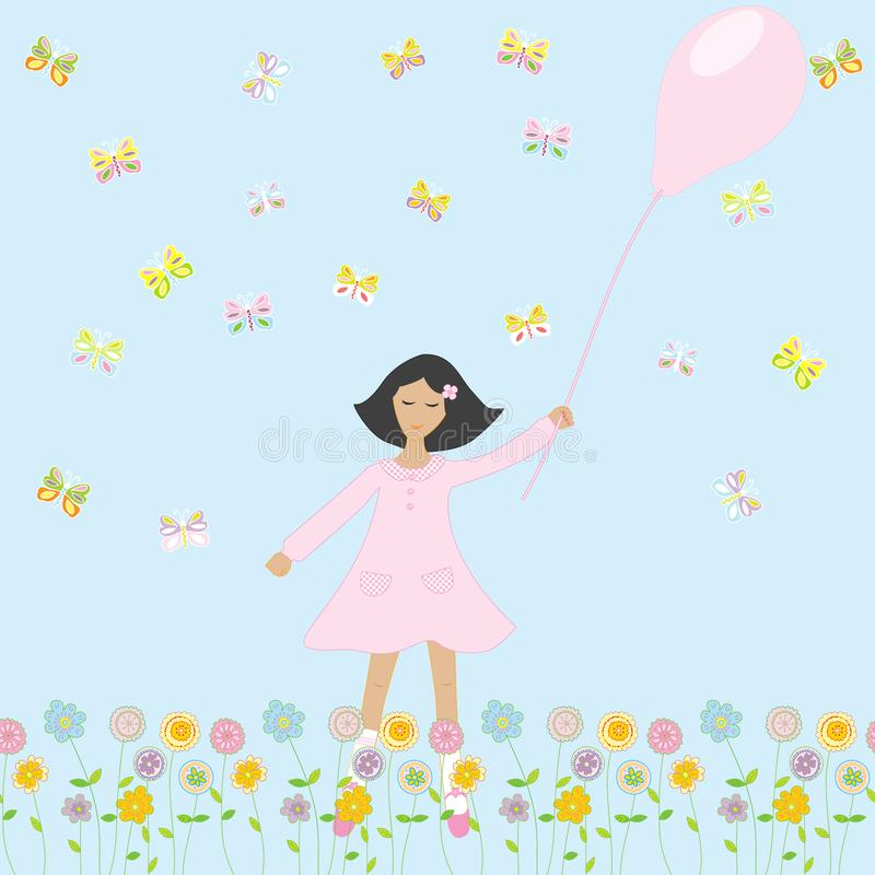 Cute girl with balloon royalty free illustration