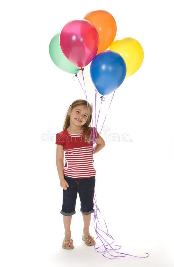 Download Cute Girl With Balloons stock image. Image of stripes - 4864259