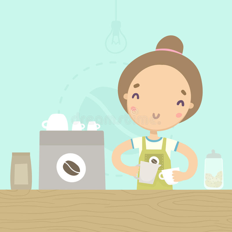 Cute girl barista preparing drink at the counter. Coffee shop. vector illustration