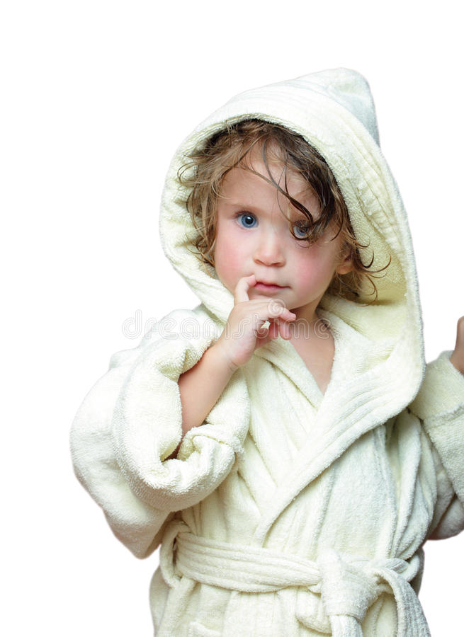 Download Cute Girl In Bathrobe Portrait Stock Images - Image: 18071134