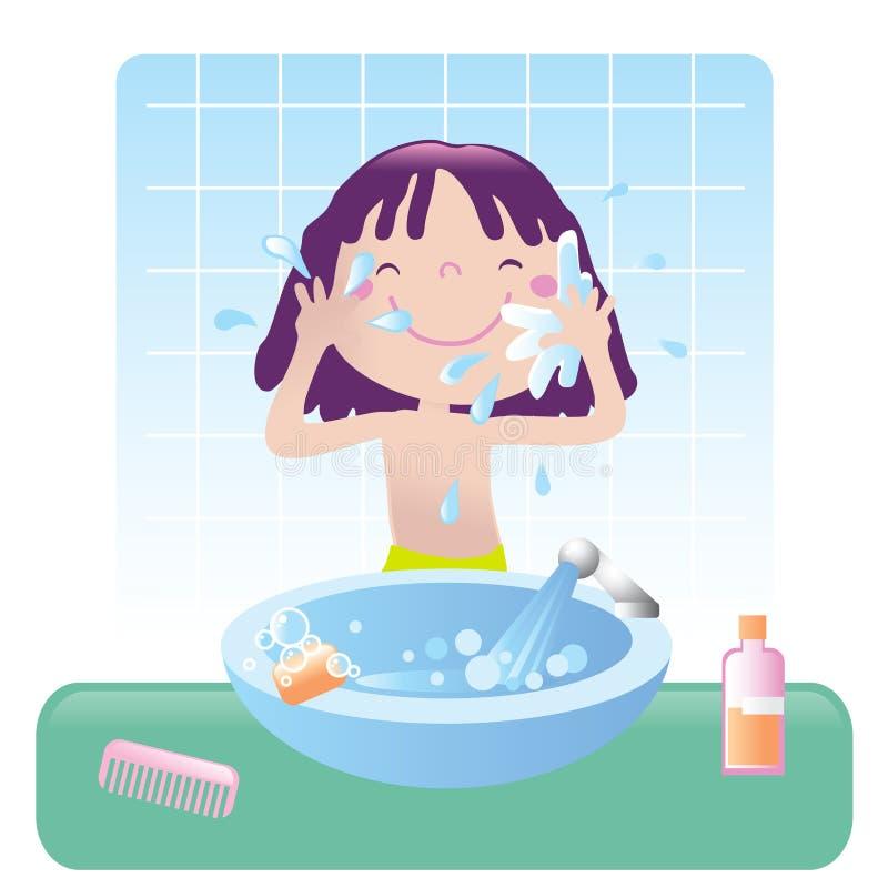Cute girl- bathroom royalty free illustration