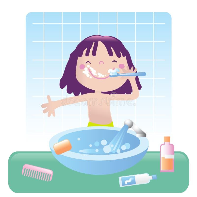 Download Cute girl- bathroom stock vector. Illustration of freshness - 6840292