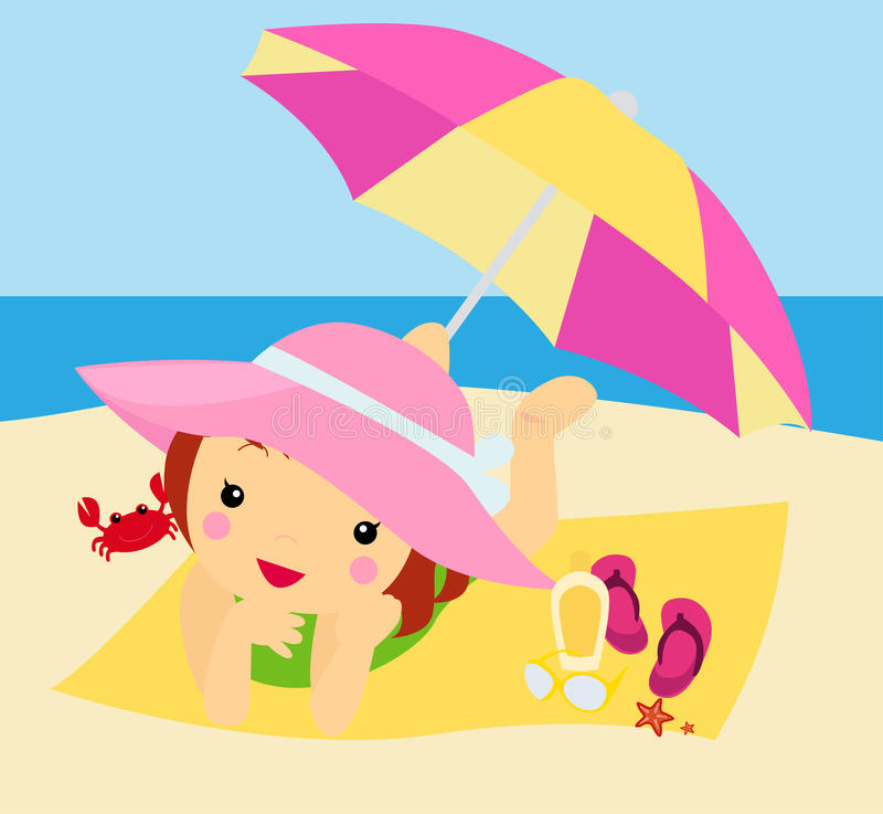 Download Cute girl on beach stock vector. Image of child, beach - 27718339