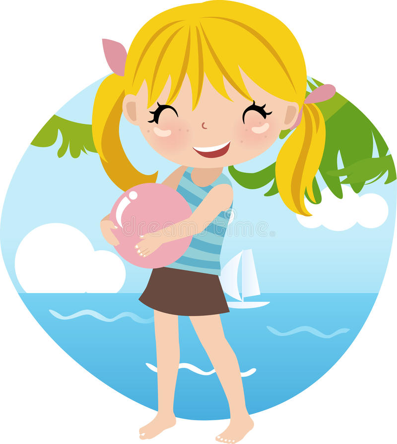 Download Cute girl at the Beach stock vector. Illustration of beach - 9949894