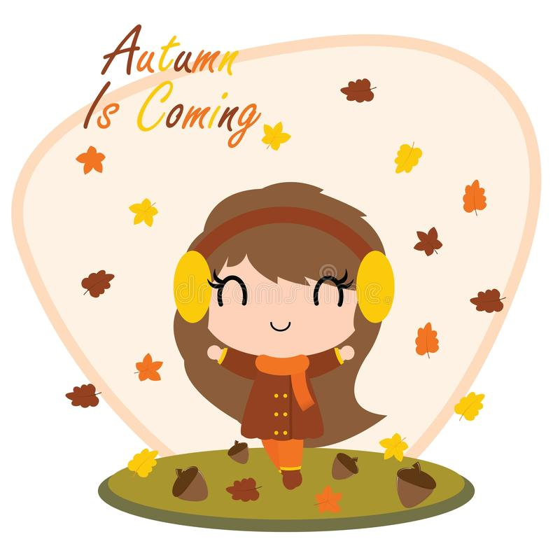 Cute girl behind maple leaves and Autumn is coming text cartoon illustration for thanksgiving`s day card design royalty free illustration