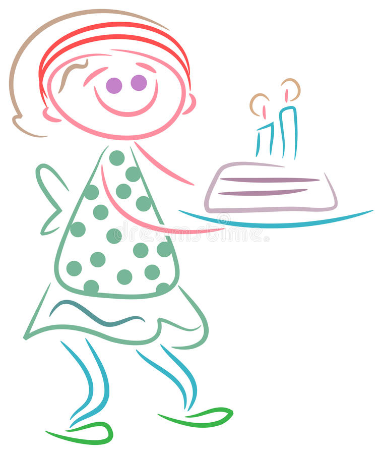 Download Cute Girl With Birth Day Cake Stock Vector - Illustration of milestone, child: 40087144