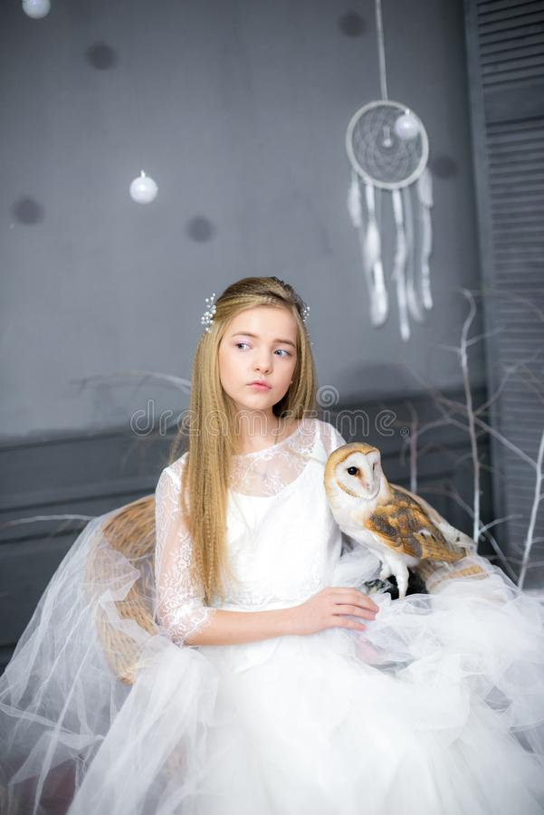 Cute girl with blond hair in a white dress with a white owl stock photo