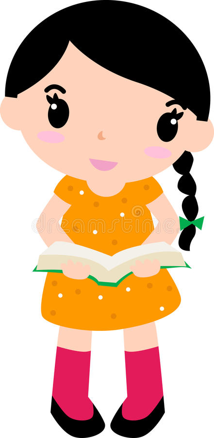 Cute girl and book vector illustration