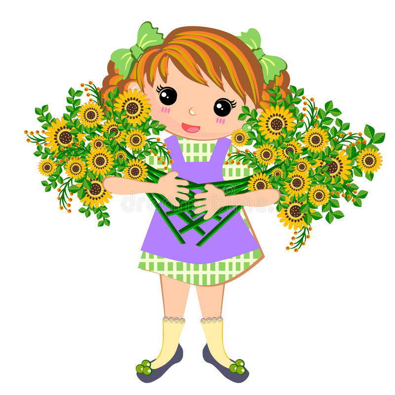 Cute kids Girl and bouquet of flowers. Little girl in summer time holding bouquet of flowers illustrations concept isolated vector illustration