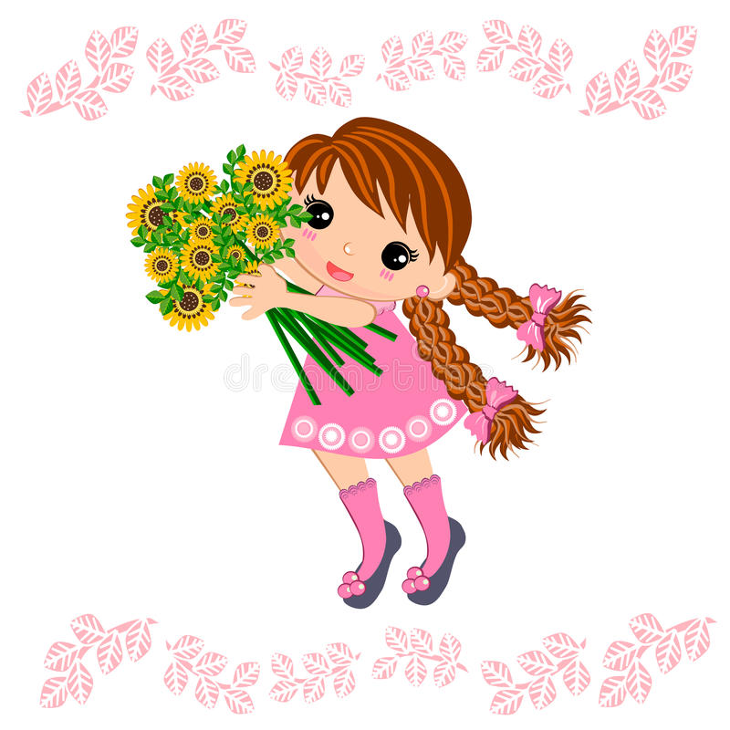 Cute Girl and bouquet of flowers. Little girl in summer time holding bouquet of flowers illustrations concept isolated stock illustration