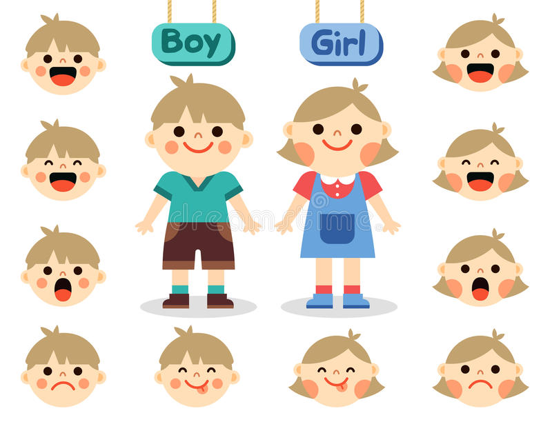 Cute girl and boy with faces showing different emotions stock illustration