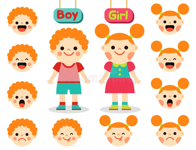 Cute girl and boy with faces showing different emotions vector illustration
