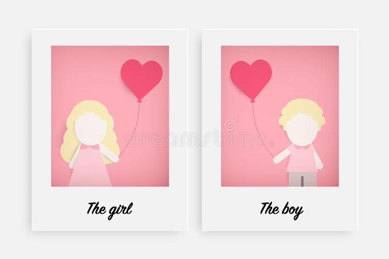 Cute girl and boy hold pink balloon royalty free illustration