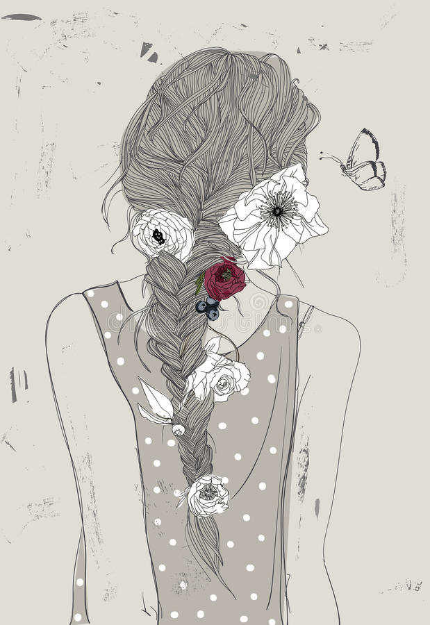 Cute girl with braid and flowers stock illustration