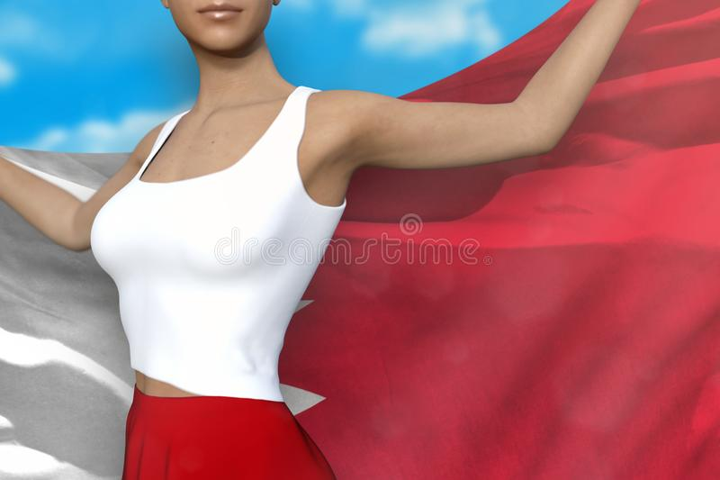 Cute girl in bright skirt holds Bahrain flag in hands behind her back on the cloudy sky background - flag concept 3d illustration. Cute girl in bright skirt is stock illustration