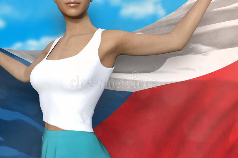 Girl in bright skirt holds Czechia flag in hands behind her back on the cloudy sky background - flag concept 3d illustration. Cute girl in bright skirt is royalty free illustration