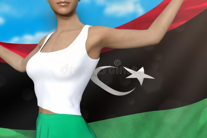 Sexy lady in bright skirt holds Libya flag in hands behind her back on the cloudy sky background - flag concept 3d illustration. Cute girl in bright skirt is royalty free illustration