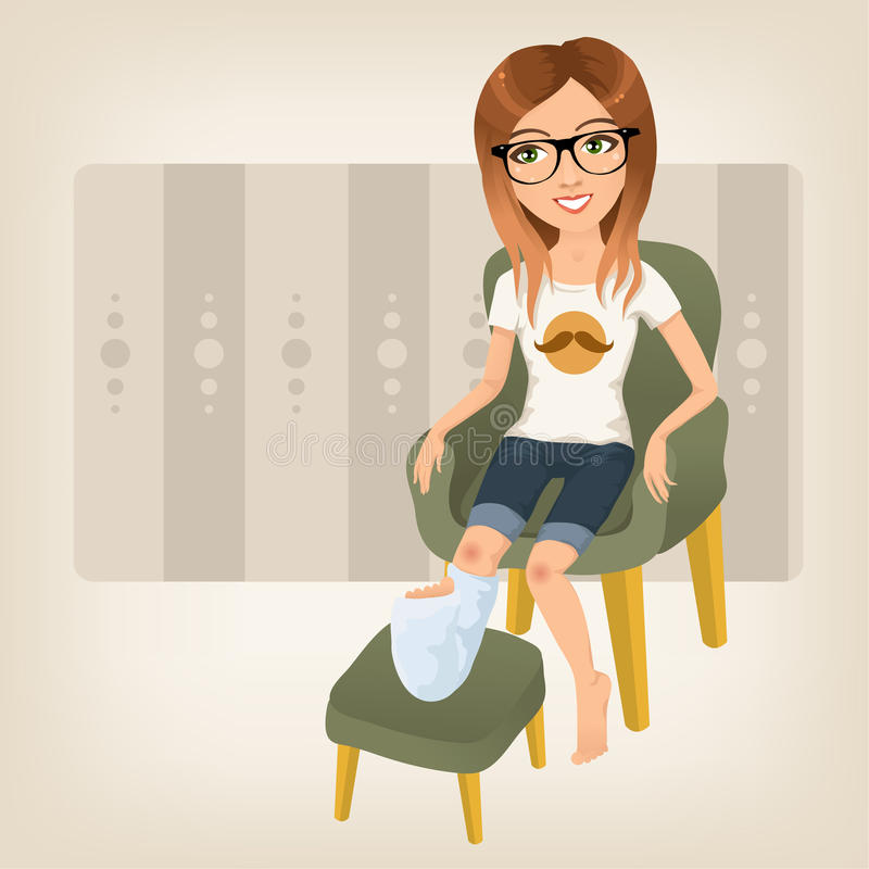 Cute girl with broken leg. Hipster girl with broken leg sitting on an armchair royalty free illustration